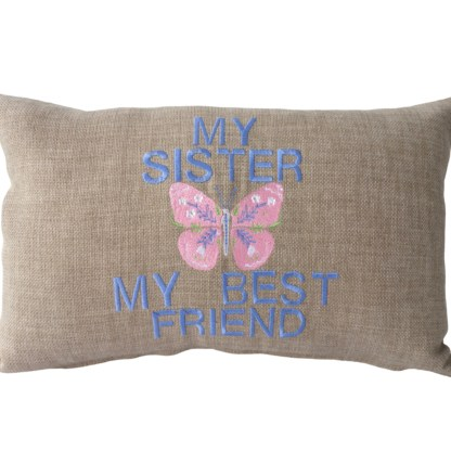 Sister Embroidered Oblong Cushion