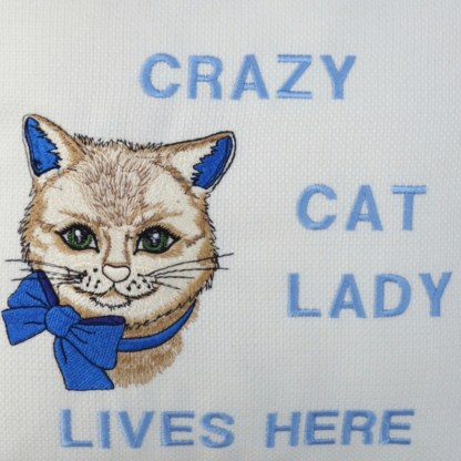 Crazy Cat Lady Embroidered Cushion - unique home gift