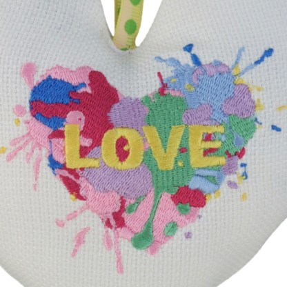 Padded Hanging Heart - Paint Splodge, embroidered gift