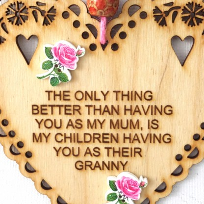 15cm Wooden Hanging Heart - Granny, engraved gift