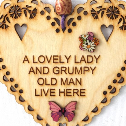 15cm Wooden Hanging Heart - Grumpy Old Man, engraved gift