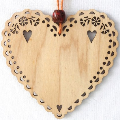 Personalised - 15cm Wooden Hanging Heart, unique gift