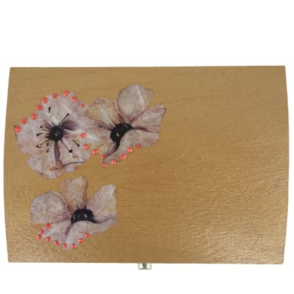 Natalie 14cm Wooden Trinket Box, painted and decoupaged gift