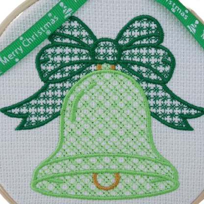 Christmas Bell in Green Embroidered Hoop, Christmas gift / decoration