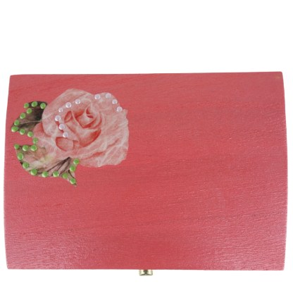 Ellie 14cm Wooden Trinket Box, painted and decoupaged gift