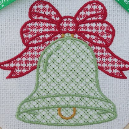 Christmas Bell Red Bow Embroidered Hoop, Christmas gift / decoration
