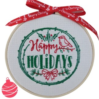 Happy Holidays Christmas Embroidered Hoop