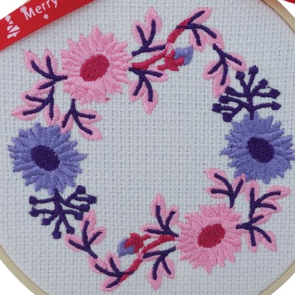 Pink Floral Wreath Embroidered Hoop, Christmas gift / decoration