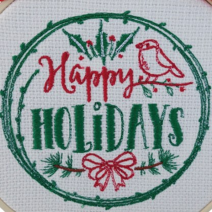Happy Holidays Christmas Embroidered Hoop, Christmas gift / decoration