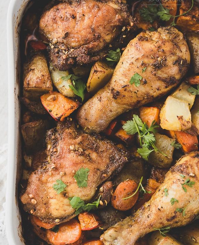 Udka z kurczaka pieczone z dynią i ziemniakami przepis
