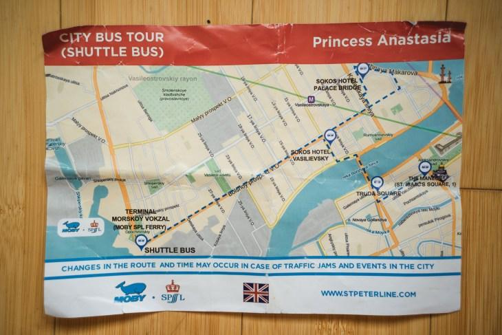 mapka z rozkładem jazdy shuttle busa