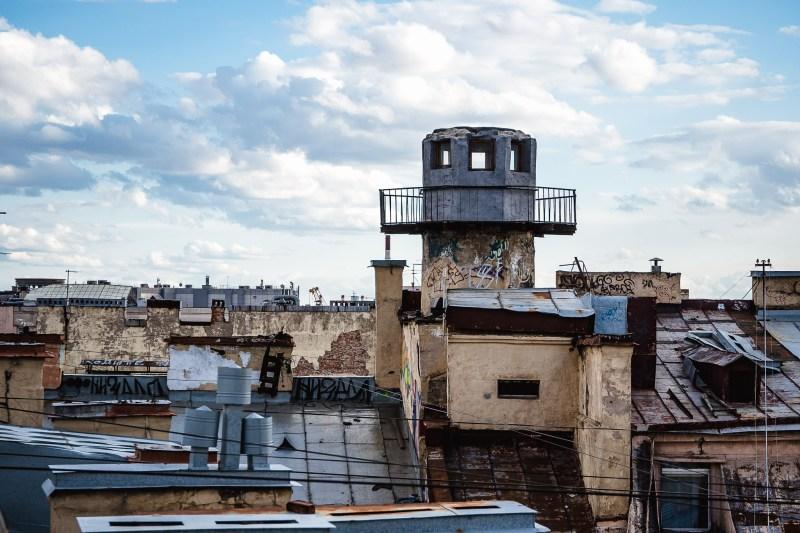Wieża obserwacyjna z czasów oblężenia Leningradu w trakcie II wojny światowej