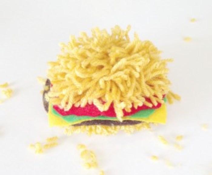 pom pom burger_Fotor | Complete Burger Pom Pom | How to Make a Yarn Pom Pom Burger on the Pop Shop America Craft Blog