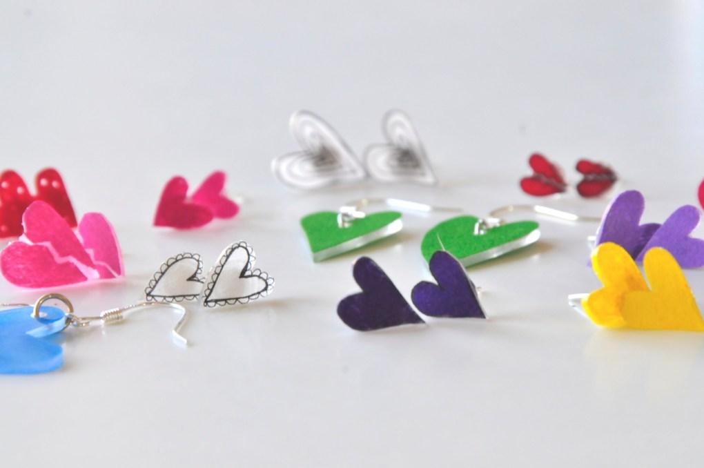 Hero How to Make Heart Earrings Rainbow Earrings Pop Shop America Design Shop