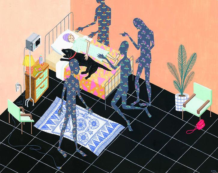Aliens in Bedroom Illustration by Kristen M. Liu