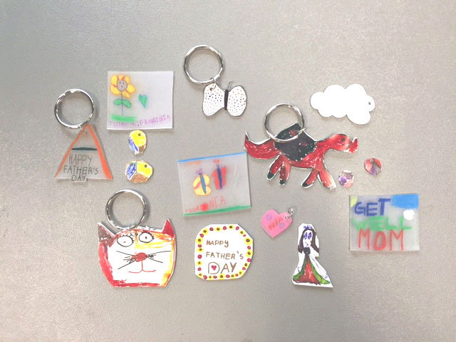shrinky dink kids finished items Here are the finished products of a Houston Public Library Kids Workshop. This was in conjunction with the Summer Reading Series.
