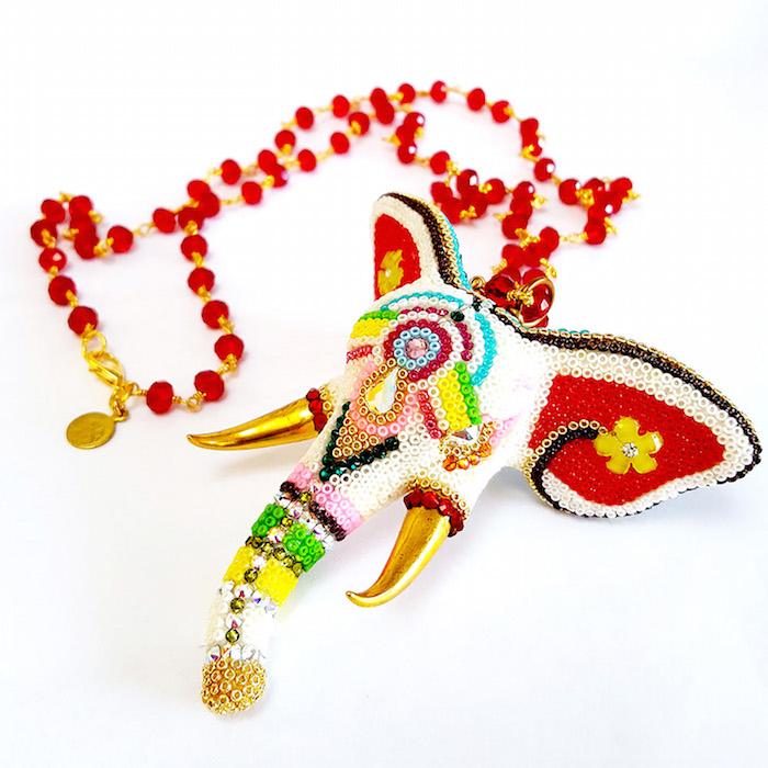 Ganesh Elephant Sculptural Necklace by Brass Thread Handmade Jewelry
