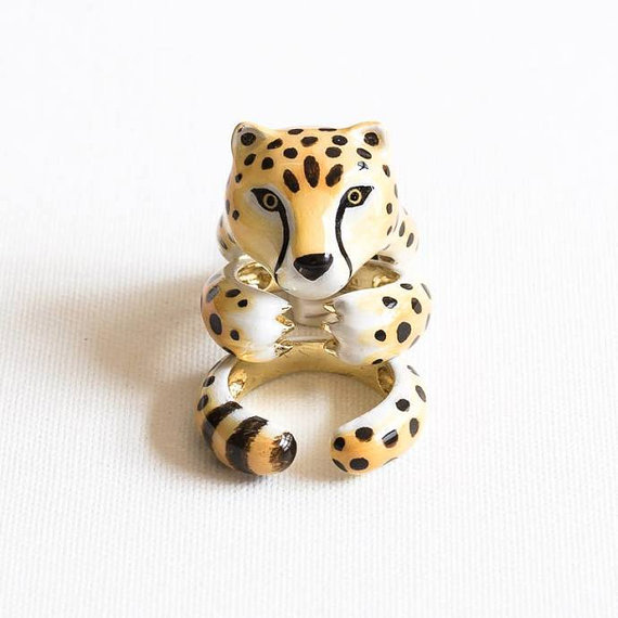 cheetah ring enamel rings shop on etsy