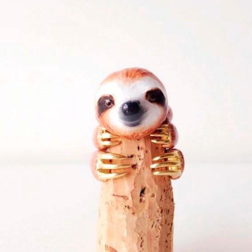 sloth ring handmade animal rings mary lou