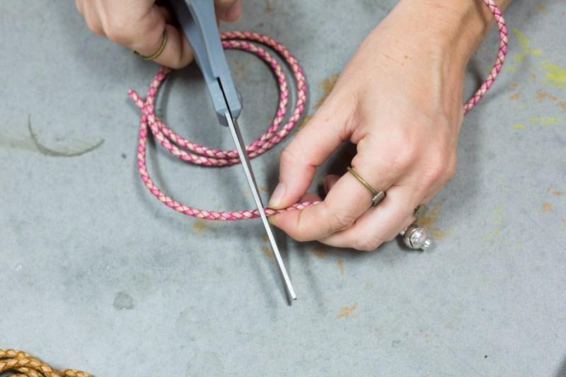 cut the leather cord boho bracelet diy photo