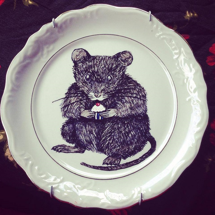 Mouse with Cupcake Painting handmade art on ceramic plates