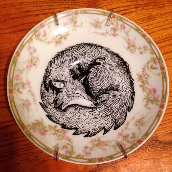 Fox Painting Etsy Art Handmade Plates by Kelly Kielsmeier
