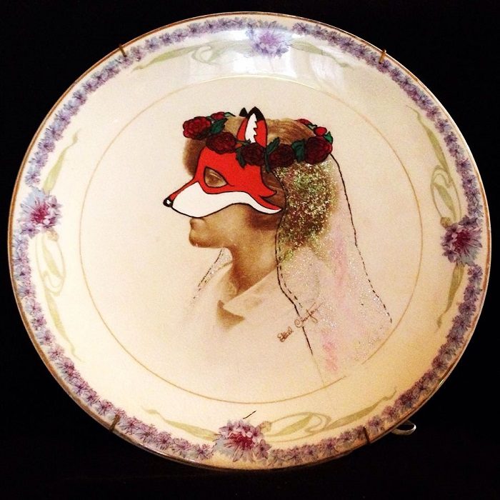 Wedding Fox Bride Painting by Kelly Kielsmeier