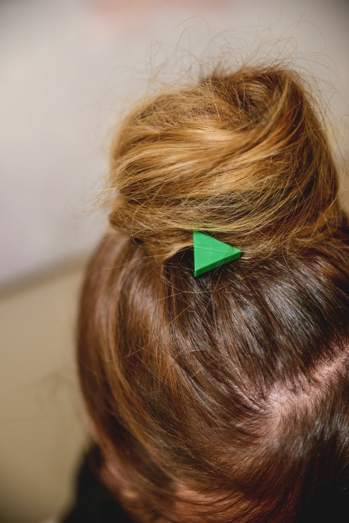 up close detail of mondrian hair barrette in hair