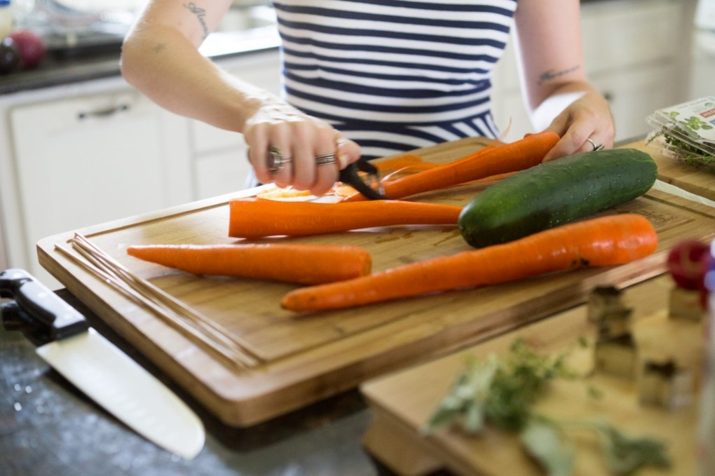 peeling veggies for easy veggie kabobs recipe