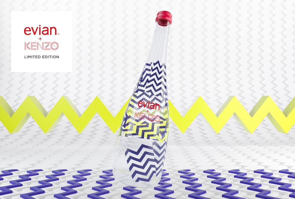 evian's 2015 collectible glass bottle, designed by Kenzo.  Courtesy of popsop.com