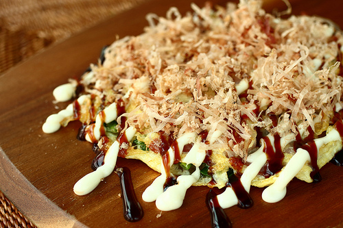 Okonomiyaki Pajeon – Japanese inspired Korean pancake topped with fish flakes