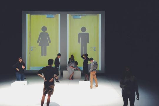 Deciding which toilet to go into is still a real and painful struggle for transgenders. During rehearsal at National Library's Drama Centre Black Box.