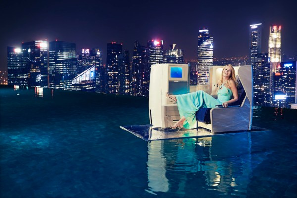 1. Gwyneth Paltrow reclines in a British Airways Club World seat atop MBS SkyPark