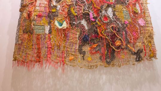 A colourful woven net by Santi Wangchuen at Yeo Workshop.