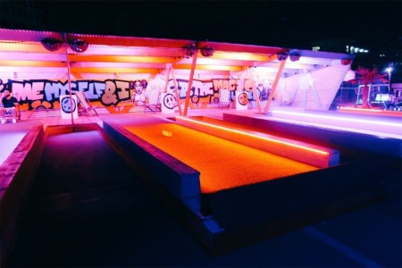 Disco bowling lanes at Roof East