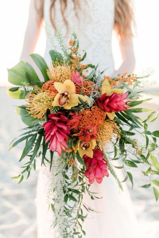 colorful tropical bridal bouquet