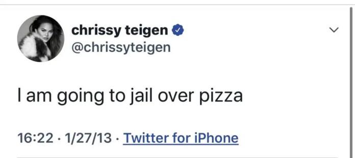 Teigen pizza tweet