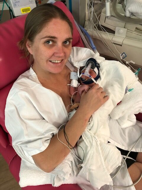 Maria and her son at the NICU.