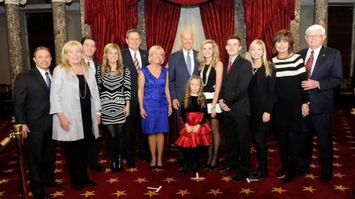 Joe Biden, Senator Steve Daines and his niece Maria Piacessi