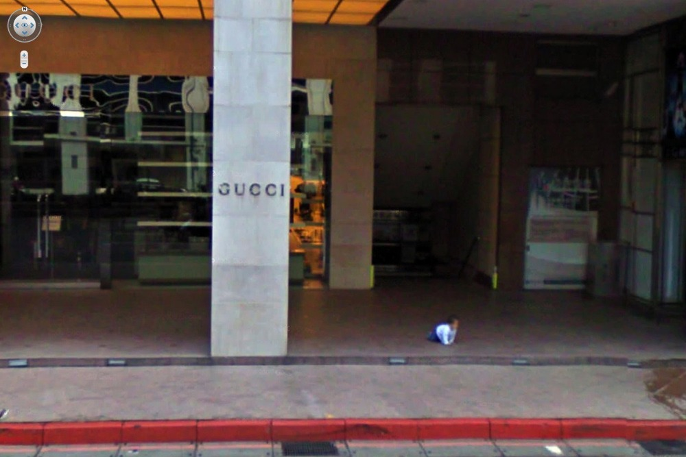 15 Crazy Moments Captured on Google Street View - Baby Left Unattended Outside Gucci Store
