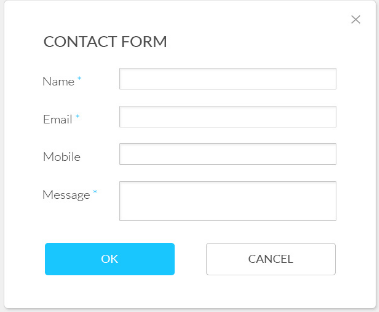 Contact form popup Name email mobile message