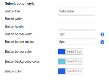 Submit button style colors and dimensions
