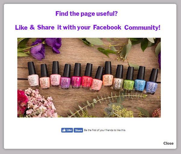Facebook popup discount on nail lacquers