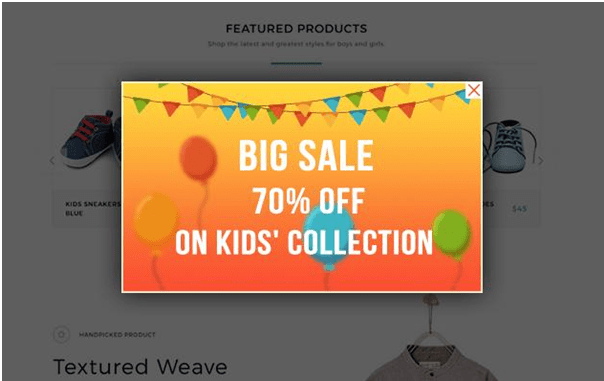 image popup discount on kids collection