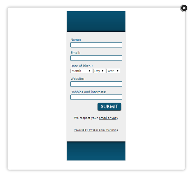 Aweber popup email subscription form to enhance communication