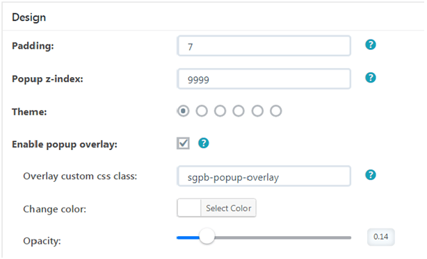 popup design settings