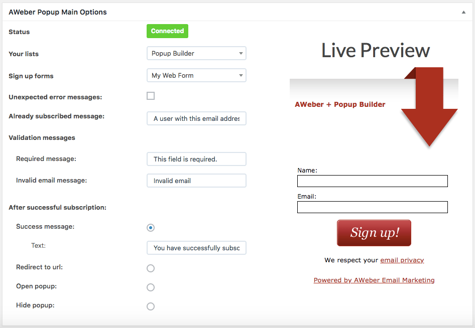 AWeber popup options