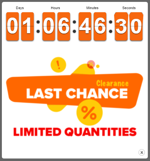 Countdown popup holiday sales ending