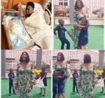 Mercy Johnson returns home after childbirth as kids welcome her in grand style (video)