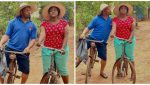 """""""This one na typical village love"""" – Fans react to photos of Mike Ezuruonye and Nazo Ekezie on bicycles"""